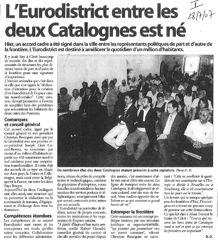 Neix l'Eurodistricte entre les dues Catalunyes - 28 de juliol del 2007